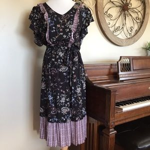 NWT Ana Size XL Belted Black Floral Dress